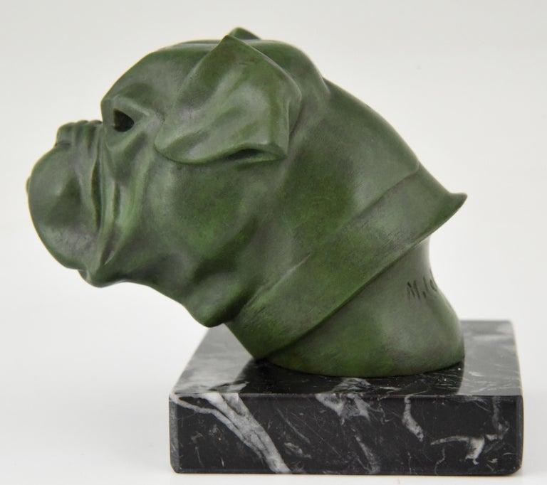Marble Art Deco Sculpture Bulldog Paperweight Car Mascot Max Le Verrier, 1930 For Sale