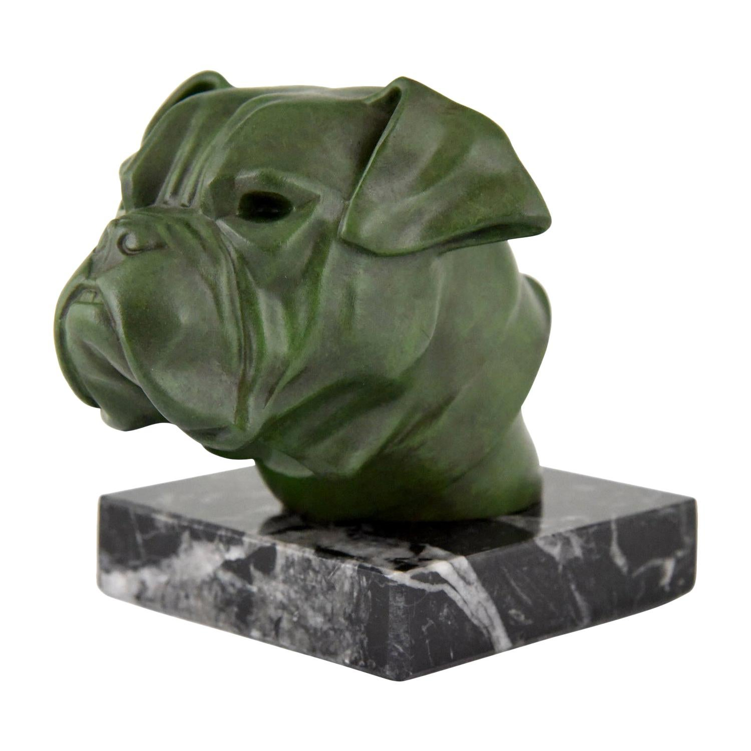 Art Deco Sculpture Bulldog Paperweight Car Mascot Max Le Verrier, 1930
