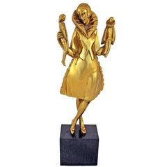 "Art Deco Sculpture by Pierre Le Faguays ""Girl with Puppets"""