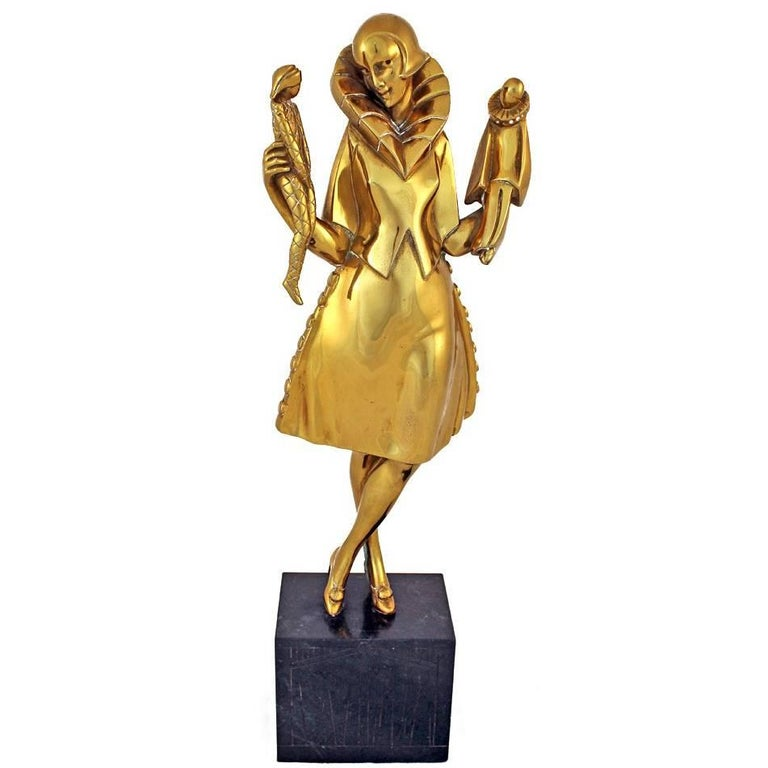"""Art Deco Sculpture by Pierre Le Faguays """"Girl with Puppets"""""""