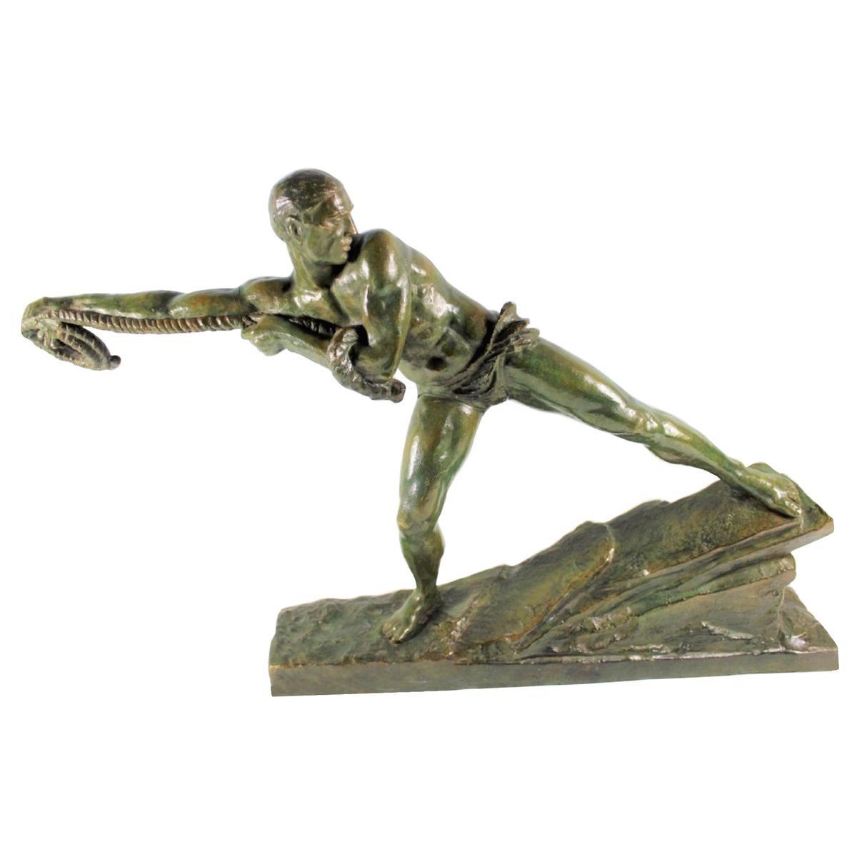 """Art Deco Sculpture by Pierre Le Faguays """"Lariat"""" Bronze"""