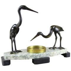"""Art Deco Sculpture """"Cranes"""" Bronze/ Marble, France, circa 1925"""