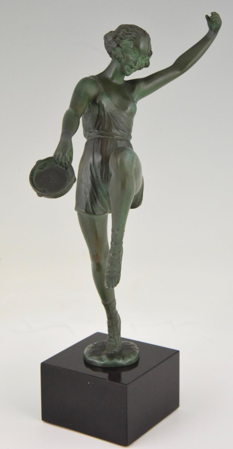 Art Deco Sculpture Dancer with Tambourine Fayral Pierre Le Faguays, France, 1930 For Sale 3