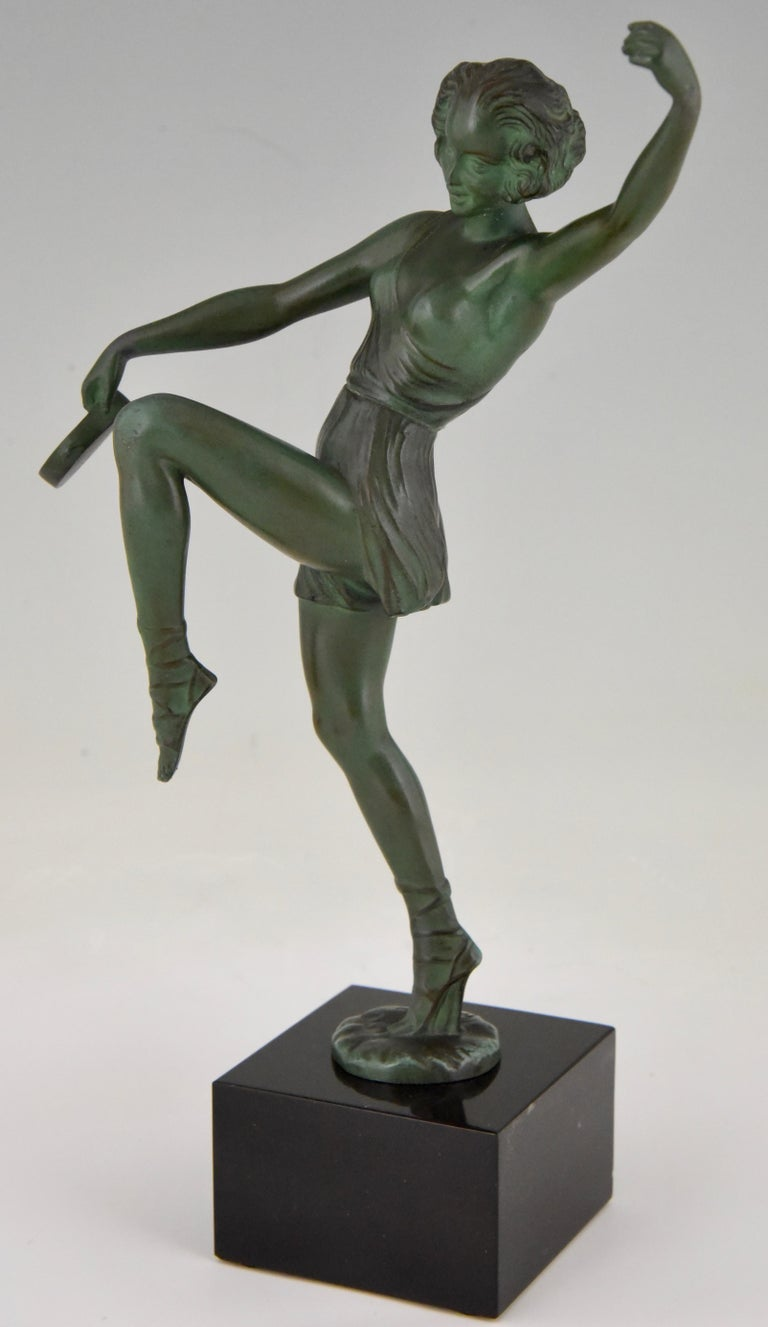 French Art Deco Sculpture Dancer with Tambourine Fayral Pierre Le Faguays, France, 1930 For Sale