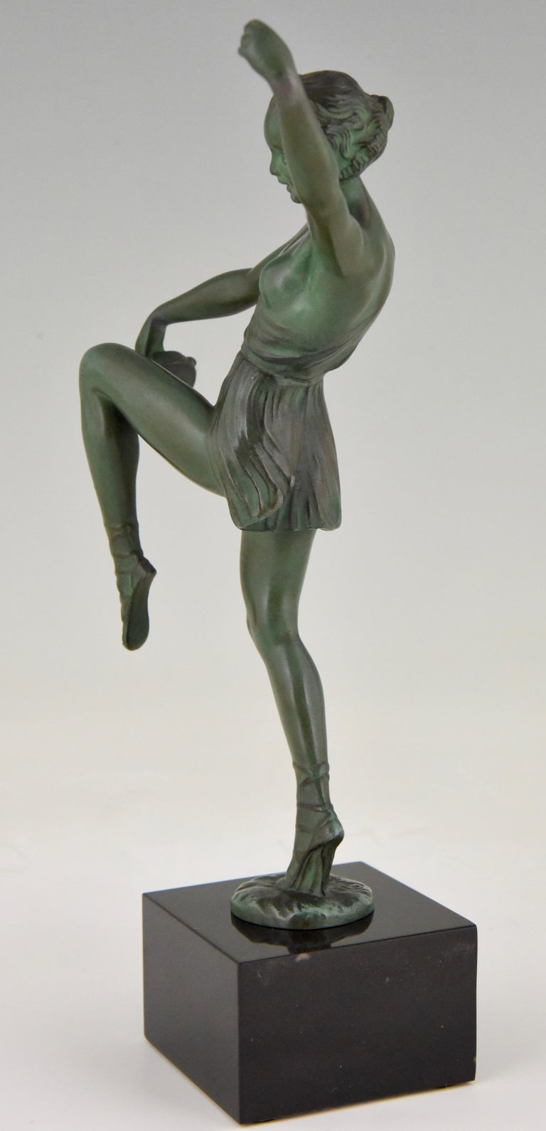 Patinated Art Deco Sculpture Dancer with Tambourine Fayral Pierre Le Faguays, France, 1930 For Sale