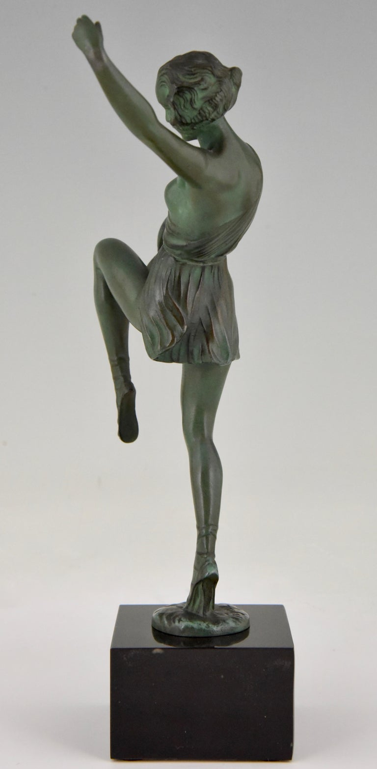 Art Deco Sculpture Dancer with Tambourine Fayral Pierre Le Faguays, France, 1930 In Good Condition For Sale In Antwerp, BE