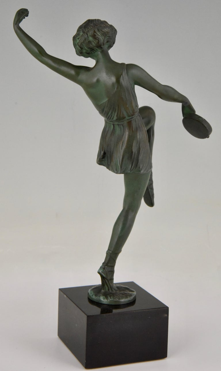 20th Century Art Deco Sculpture Dancer with Tambourine Fayral Pierre Le Faguays, France, 1930 For Sale