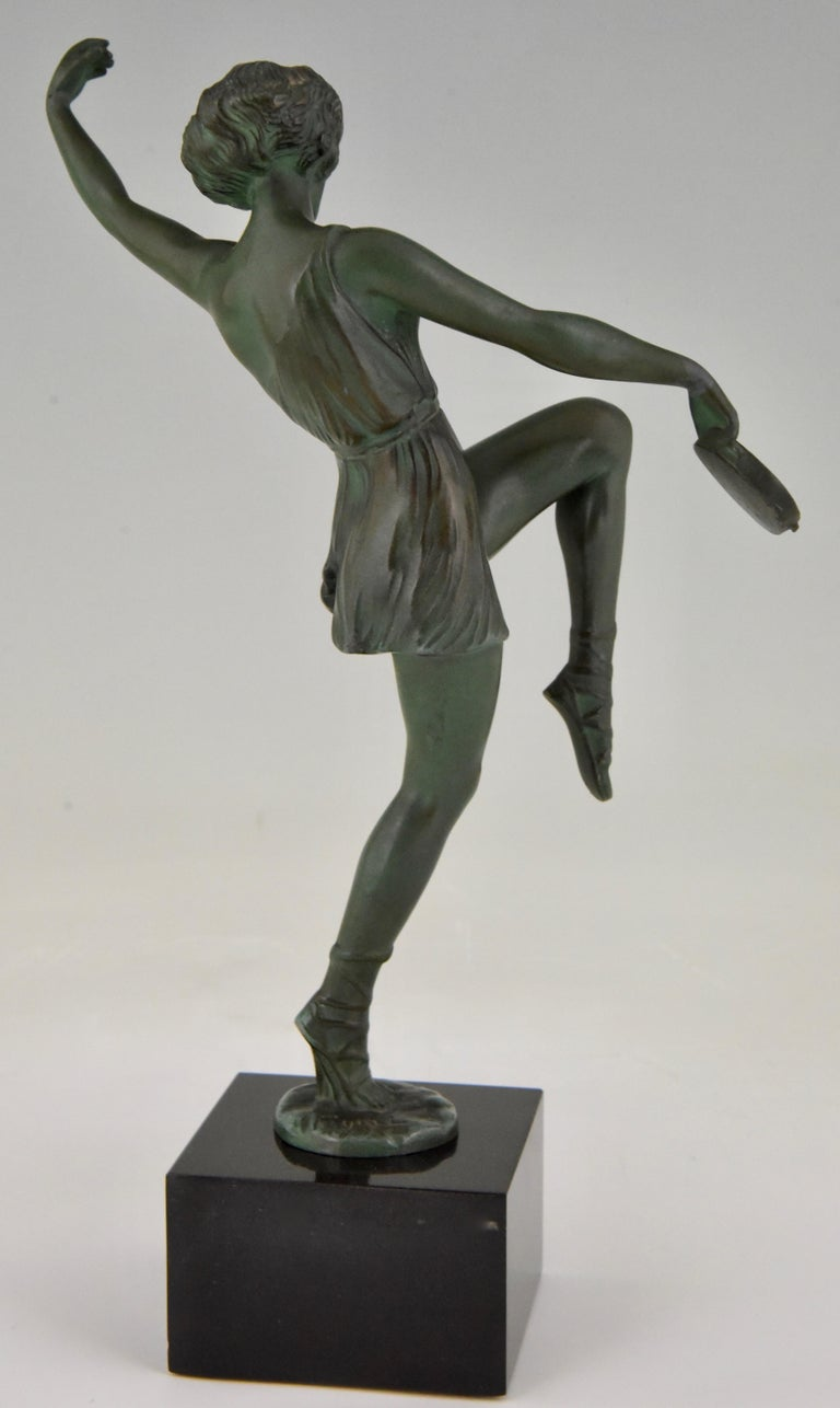 Metal Art Deco Sculpture Dancer with Tambourine Fayral Pierre Le Faguays, France, 1930 For Sale