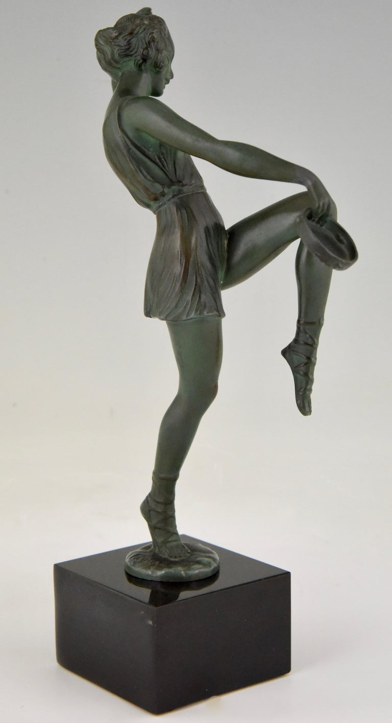 Art Deco Sculpture Dancer with Tambourine Fayral Pierre Le Faguays, France, 1930 For Sale 1