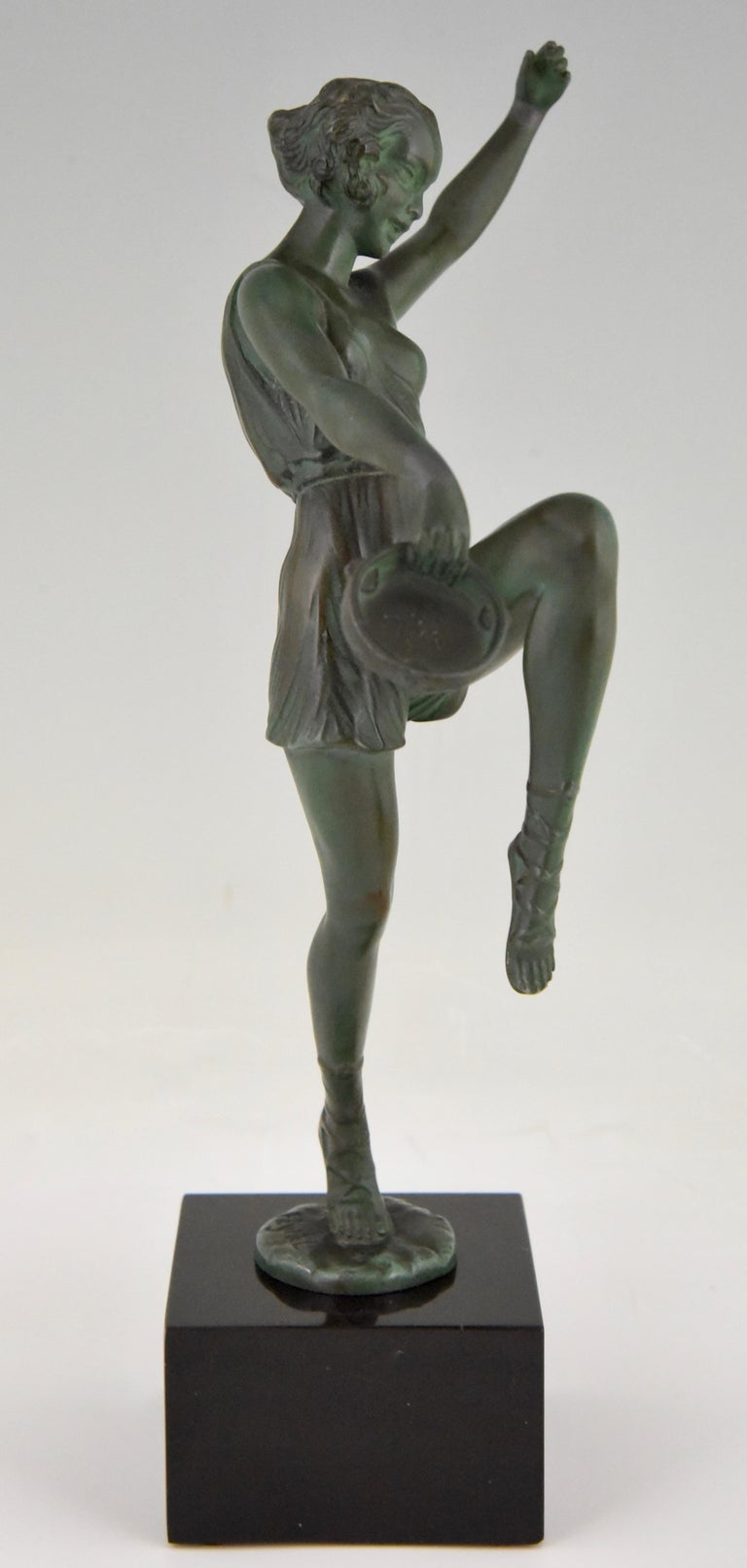 Art Deco Sculpture Dancer with Tambourine Fayral Pierre Le Faguays, France, 1930 For Sale 2