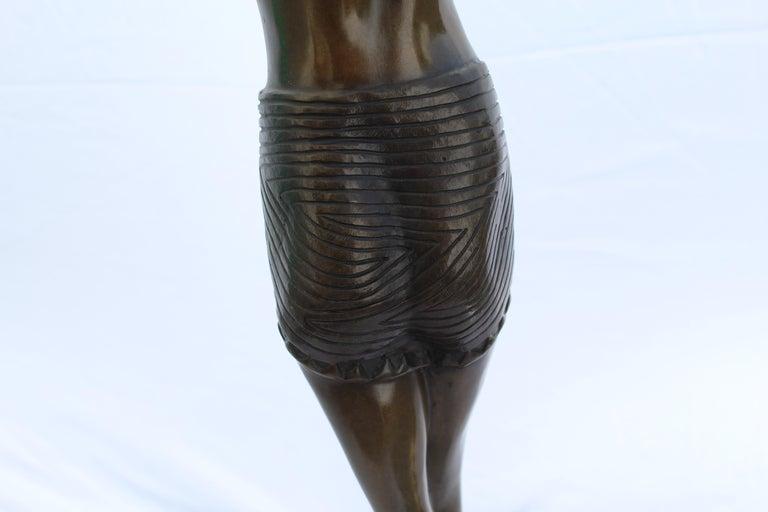 Art Deco Sculpture, Egyptian Dancer after D H Chiparus, Bronze, Marble Base For Sale 5
