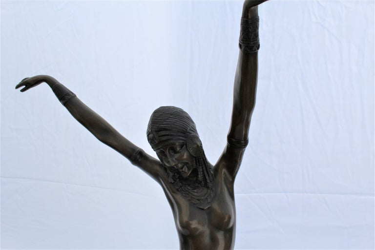Art Deco Sculpture, Egyptian Dancer after D H Chiparus, Bronze, Marble Base For Sale 6