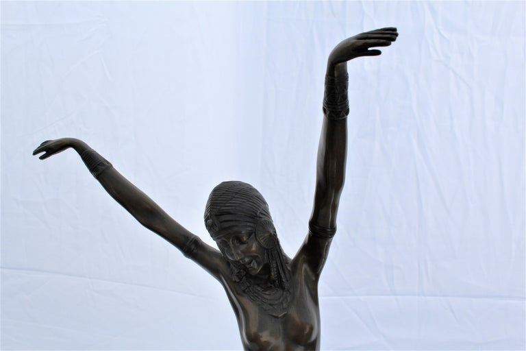 North American Art Deco Sculpture, Egyptian Dancer after D H Chiparus, Bronze, Marble Base For Sale