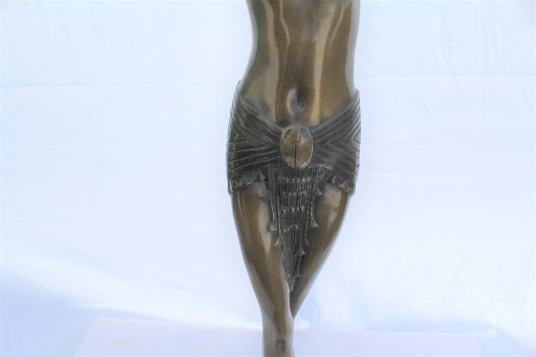 Art Deco Sculpture, Egyptian Dancer after D H Chiparus, Bronze, Marble Base In Good Condition For Sale In Los Angeles, CA