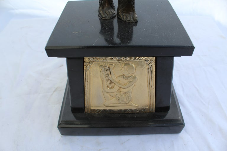 Late 20th Century Art Deco Sculpture, Egyptian Dancer after D H Chiparus, Bronze, Marble Base For Sale