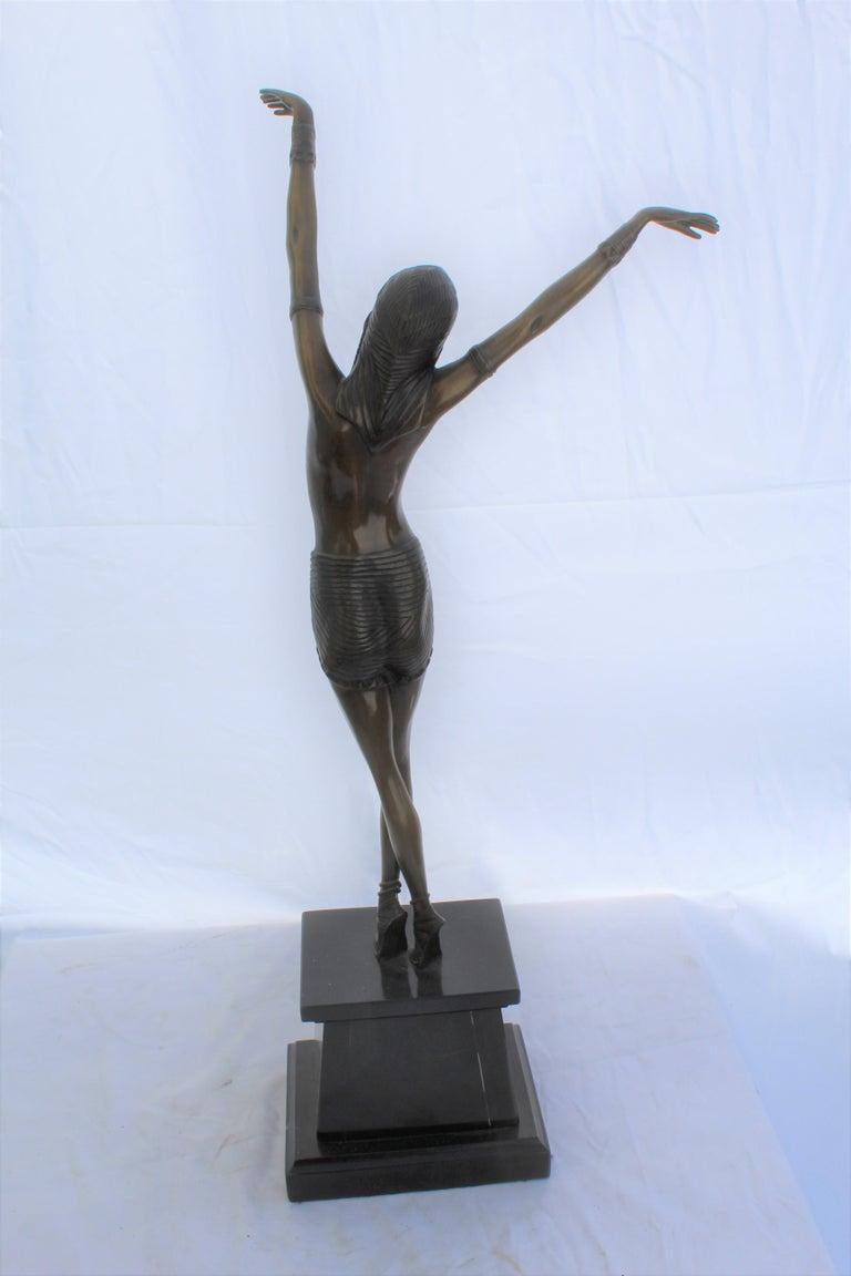 Art Deco Sculpture, Egyptian Dancer after D H Chiparus, Bronze, Marble Base For Sale 1