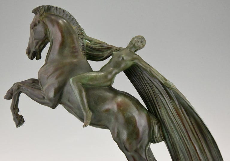 Art Deco Sculpture Female Nude on Horse Charles Charles for Max Le Verrier, 1930 3