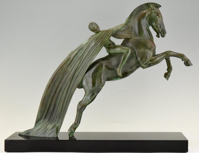 Mid-20th Century Art Deco Sculpture Female Nude on Horse Charles Charles for Max Le Verrier, 1930