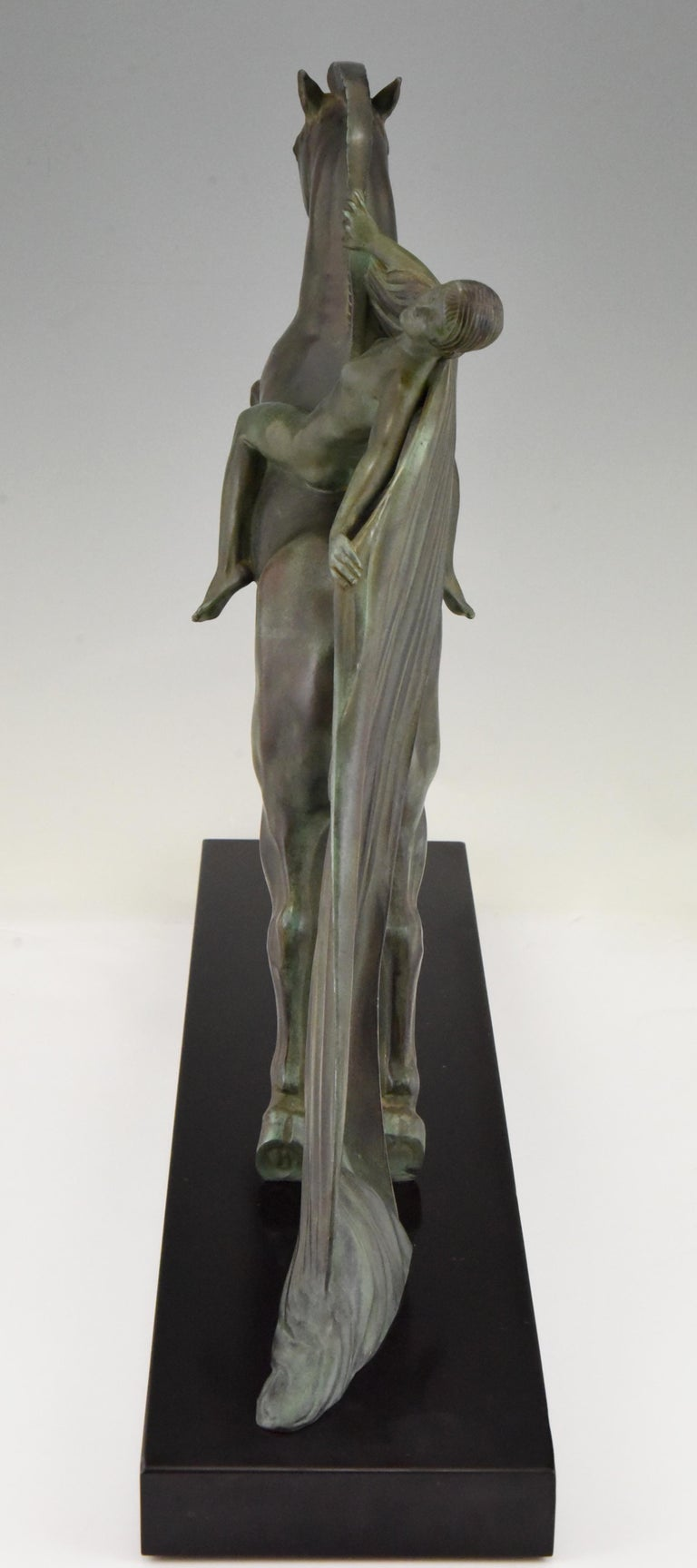 Art Deco Sculpture Female Nude on Horse Charles Charles for Max Le Verrier, 1930 1