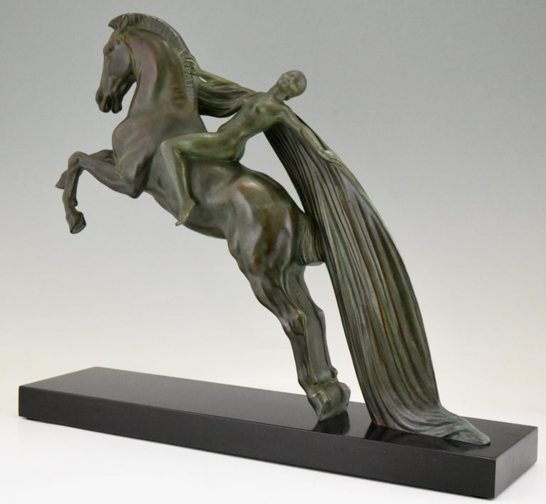 Art Deco Sculpture Female Nude on Horse Charles Charles for Max Le Verrier, 1930 2