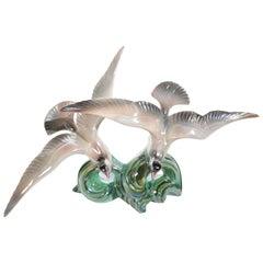 Art Deco Sculpture Flying Birds Porcelain Iridescent 1920