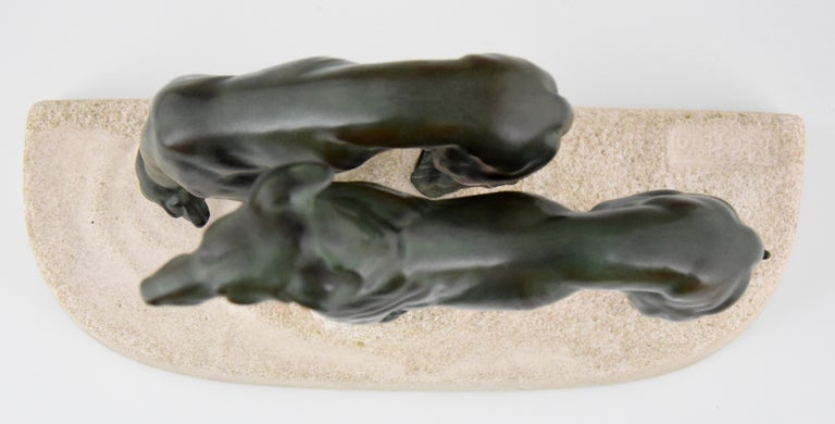 Art Deco Sculpture Greyhounds Dogs by Jules Edmond Masson for Max Le Verrier For Sale 3