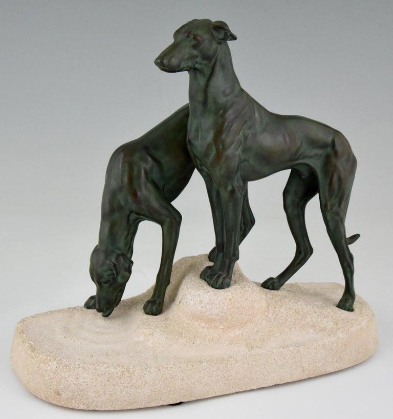 """Art Deco sculpture of two greyhounds, """"Soif du desert"""