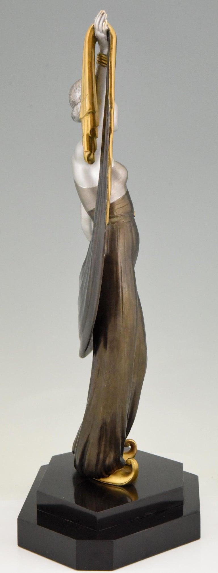 Metal Art Deco Sculpture Harem Dancer Salvador, France, 1930 For Sale
