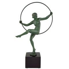 Art Deco Sculpture Hoop Dancer Briand, Marcel Andre Bouraine