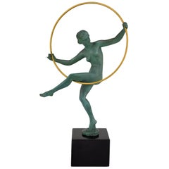 Art Deco Sculpture Hoop Dancer Briand, Marcel Andre Bouraine France, 1930