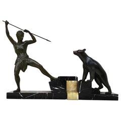 """Art Déco Sculpture - """"Hunter with Bear"""", circa 1925"""