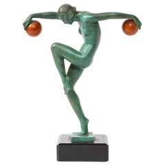 Art Deco Sculpture in Patinated & Carnelian Enameled Bronze by Denis