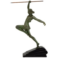 Art Deco Sculpture Javelin Thrower Fayral, Pierre Le Faguays for Le Verrier 1930