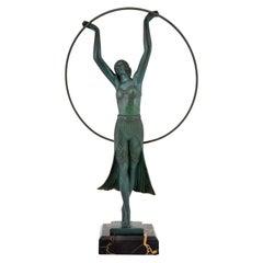 Art Deco Sculpture Lady Hoop Dancer by Charles for Max Le Verrier, France, 1930