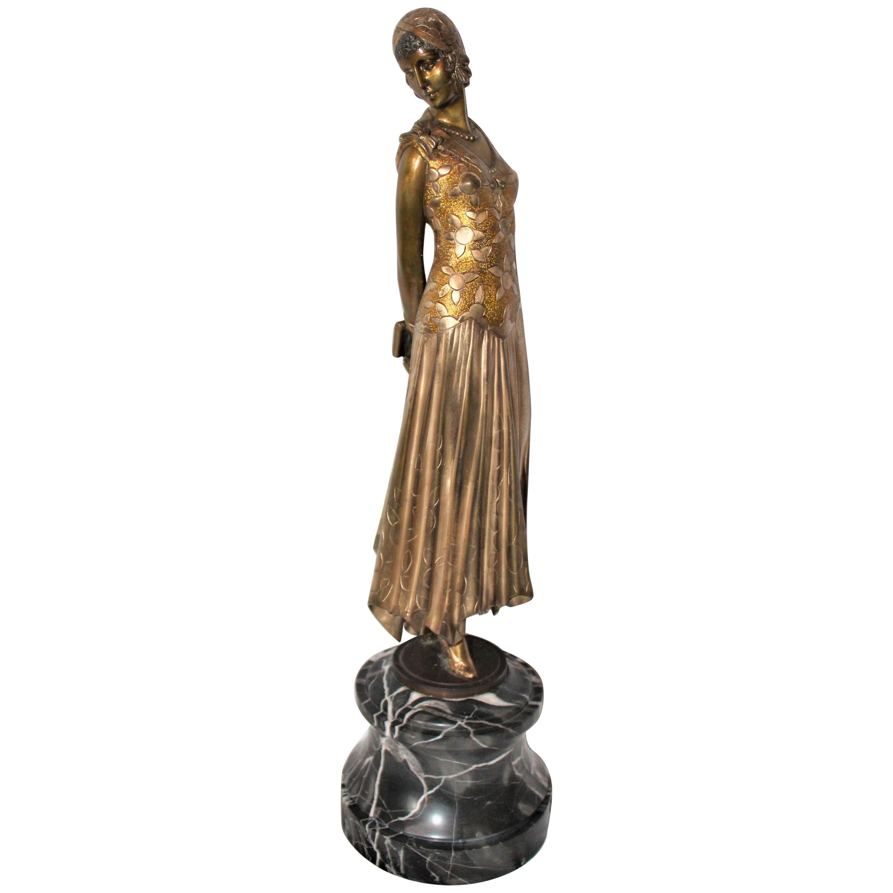 Art Deco Sculpture, Lady 'The Book Lady' Bronze and Marble after Chiparus