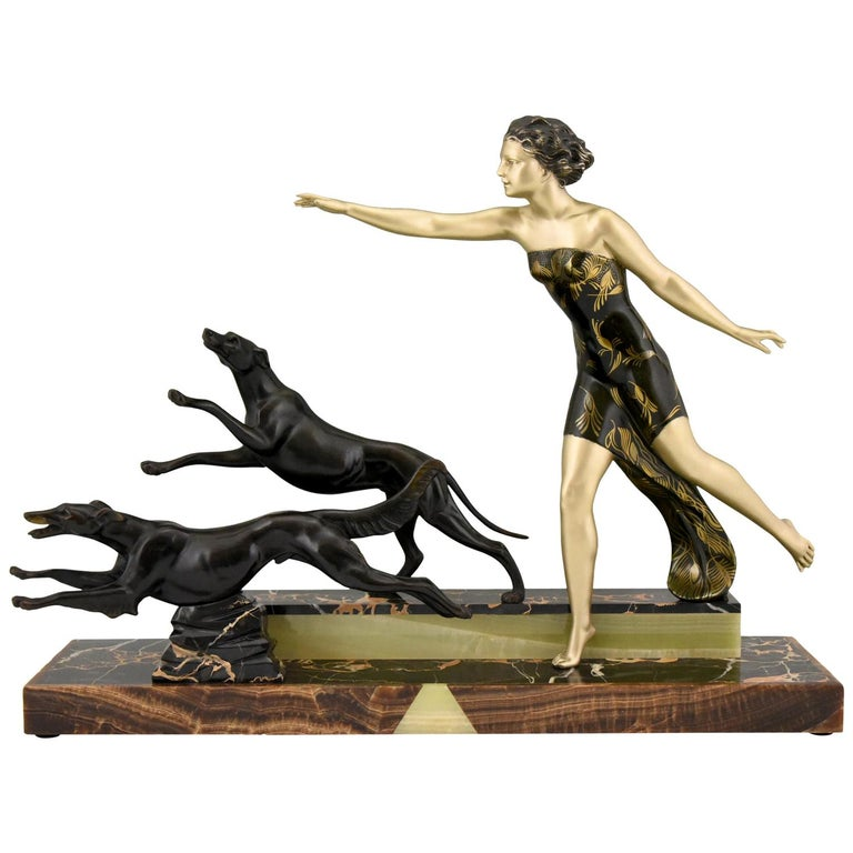 Art Deco Sculpture Lady with Dogs by Uriano, France, 1930 For Sale