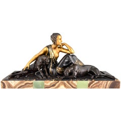 Art Deco Sculpture Lady with Two Panthers Gold Armand Godard, France, 1930