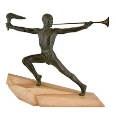Art Deco sculpture male nude with trumpet and torch Max Le Verrier France 1930
