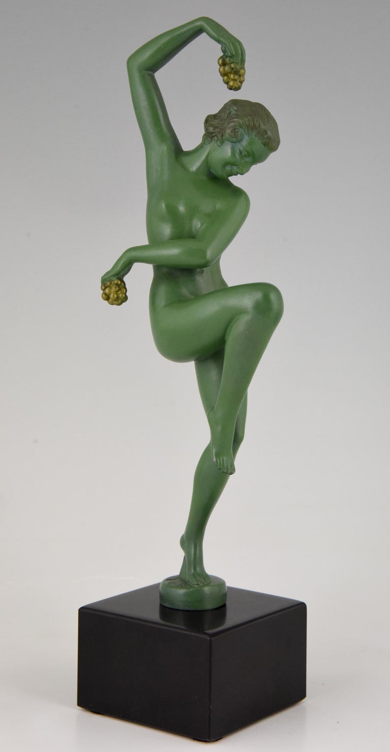 French Art Deco Sculpture Nude Dancer with Grapes Denis France 1930 Green Art Metal For Sale