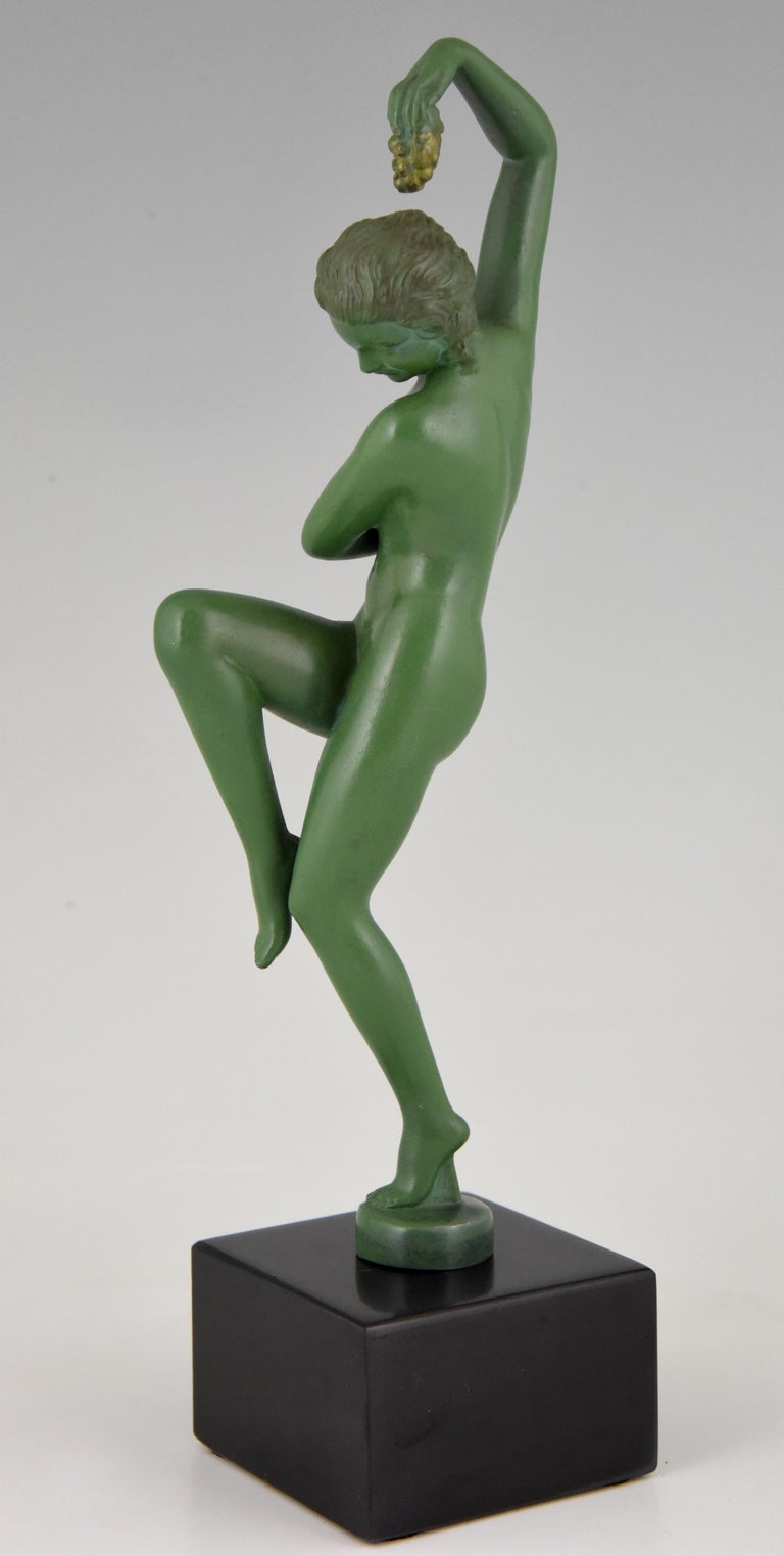Mid-20th Century Art Deco Sculpture Nude Dancer with Grapes Denis France 1930 Green Art Metal For Sale