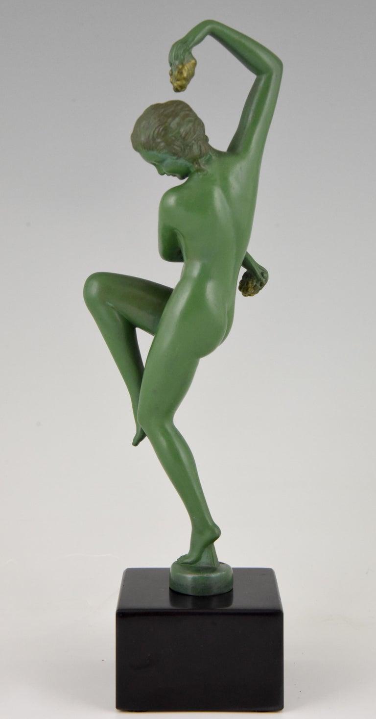 Art Deco Sculpture Nude Dancer with Grapes Denis France 1930 Green Art Metal For Sale 1