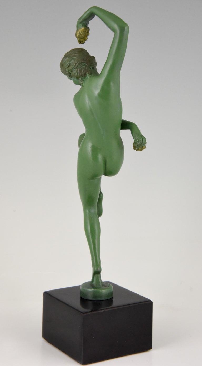 Art Deco Sculpture Nude Dancer with Grapes Denis France 1930 Green Art Metal For Sale 2