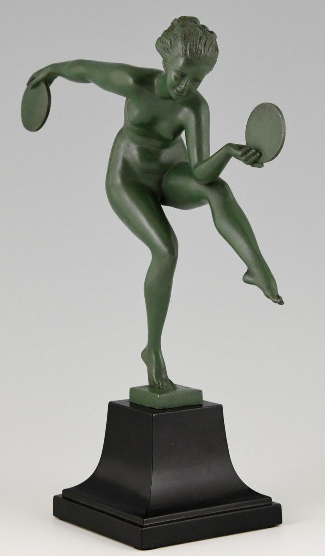 French Art Deco Sculpture Nude Disc Dancer Derenne, Marcel Bouraine, France, 1930 For Sale