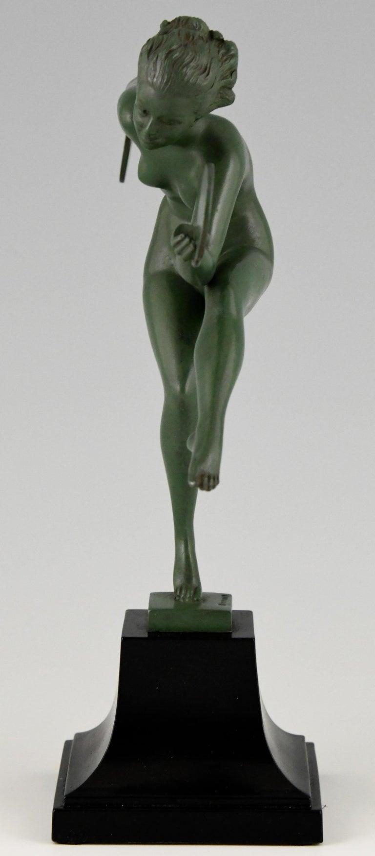 Patinated Art Deco Sculpture Nude Disc Dancer Derenne, Marcel Bouraine, France, 1930 For Sale
