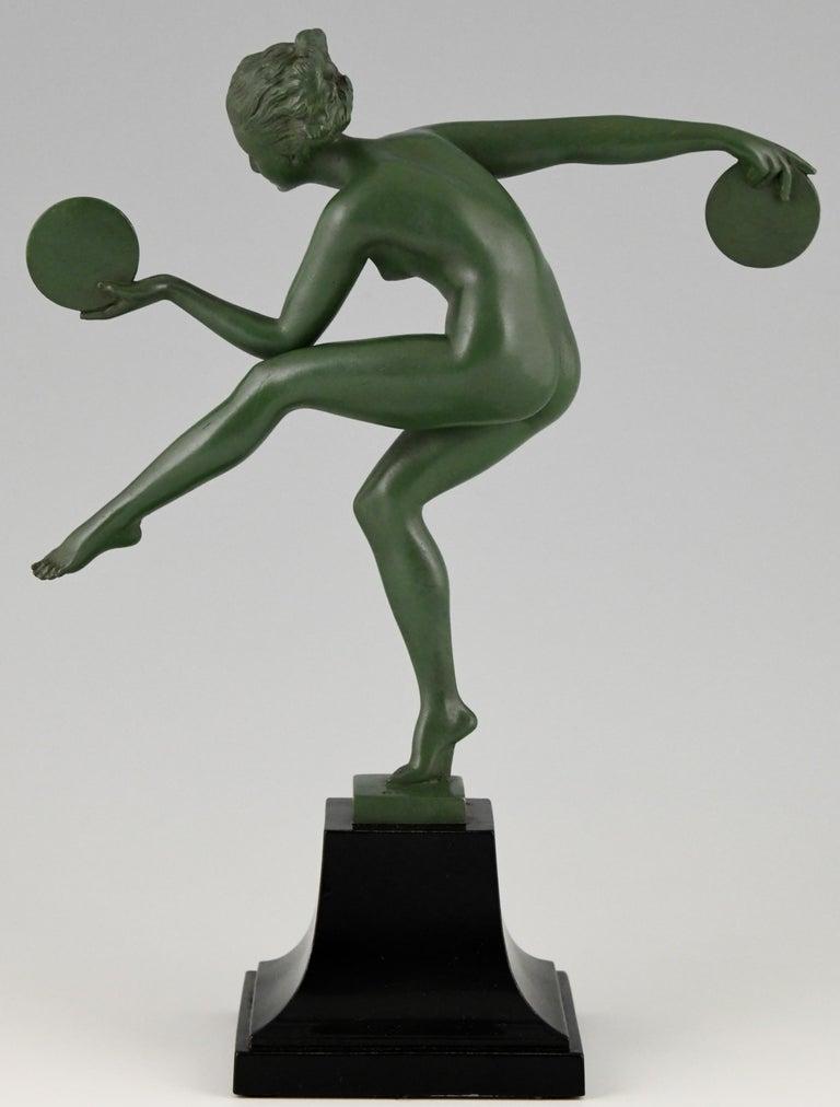 Mid-20th Century Art Deco Sculpture Nude Disc Dancer Derenne, Marcel Bouraine, France, 1930 For Sale