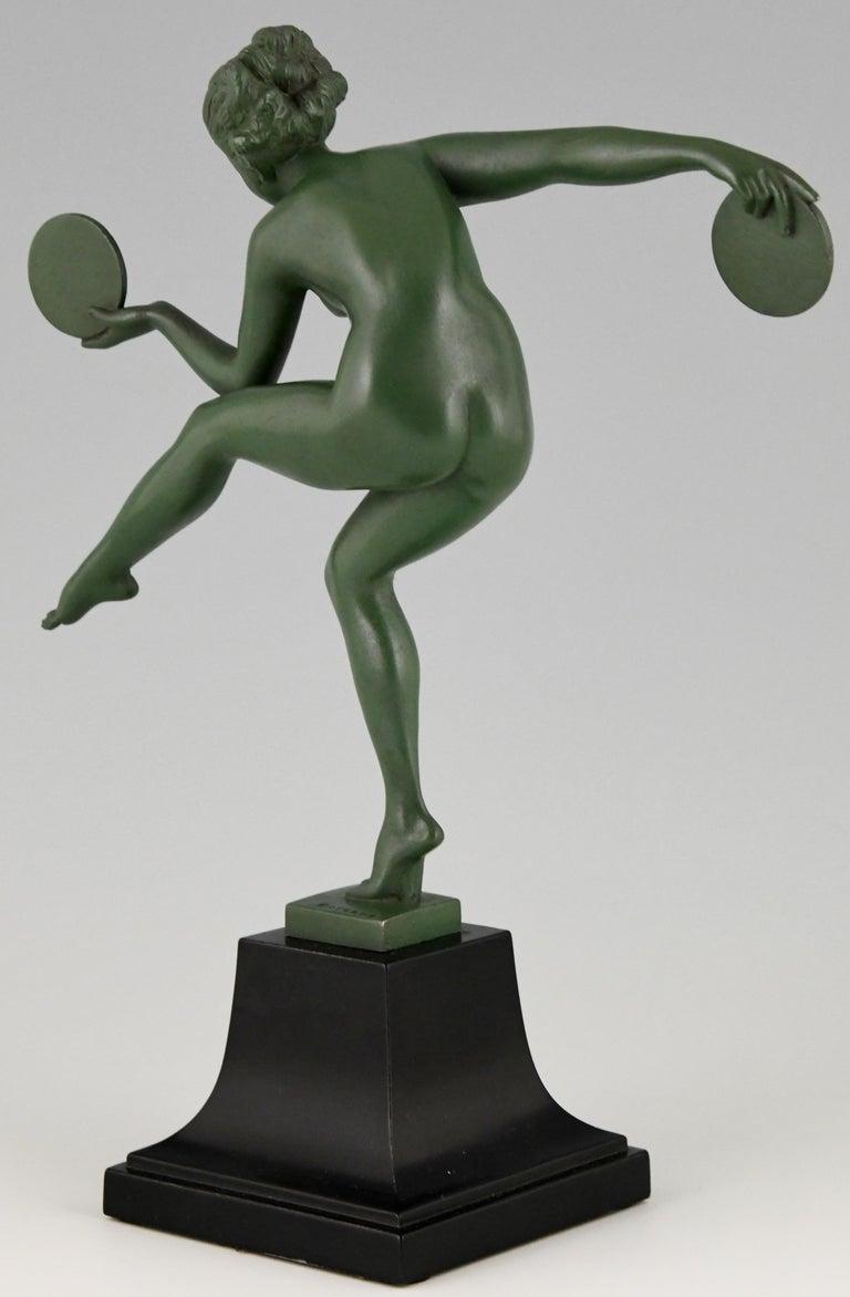Metal Art Deco Sculpture Nude Disc Dancer Derenne, Marcel Bouraine, France, 1930 For Sale