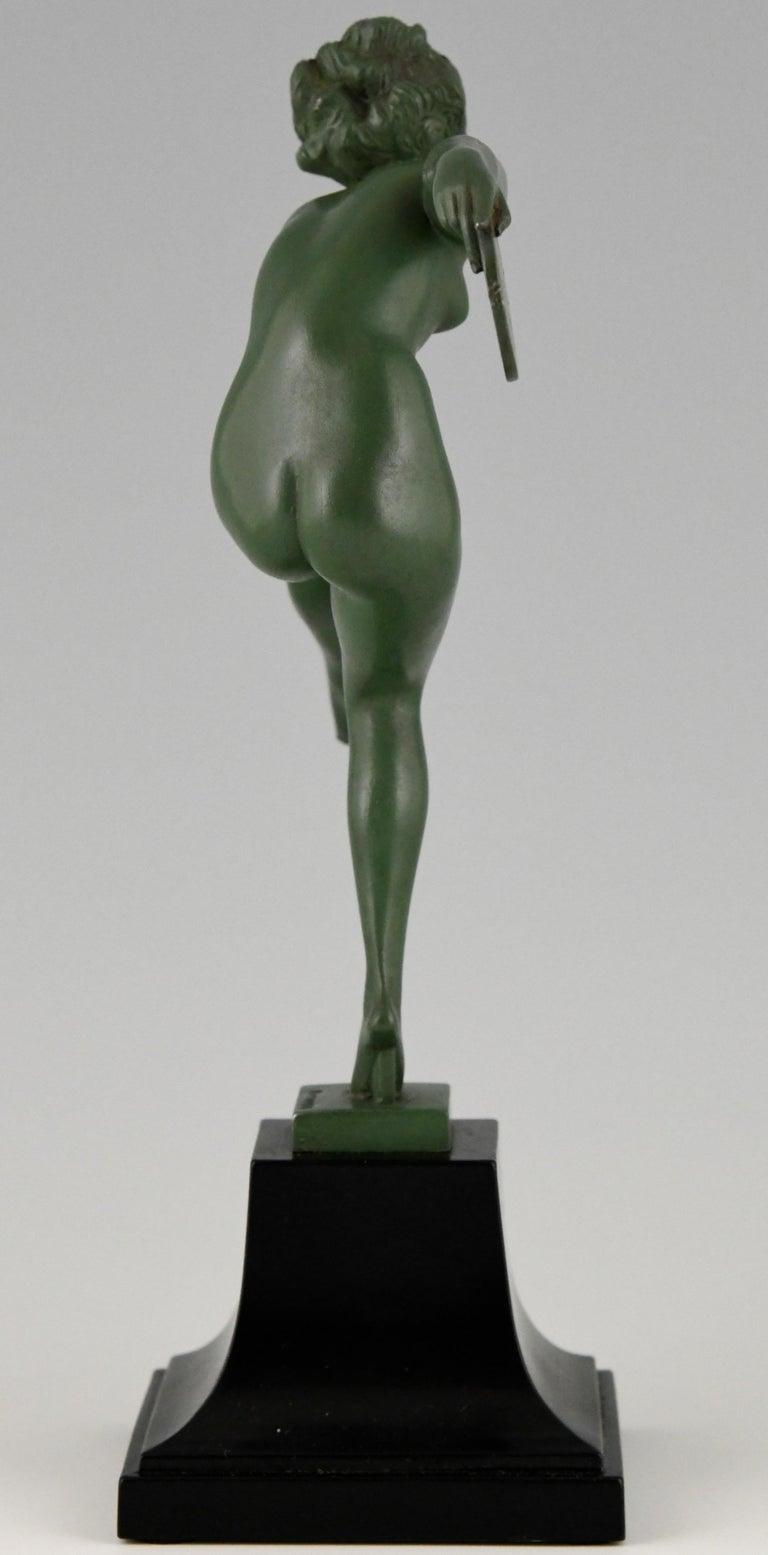 Art Deco Sculpture Nude Disc Dancer Derenne, Marcel Bouraine, France, 1930 For Sale 1