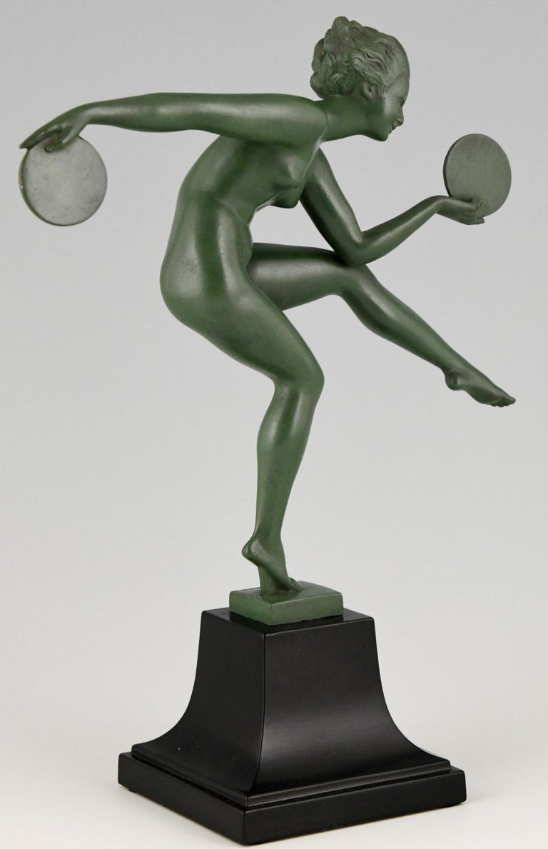 Art Deco Sculpture Nude Disc Dancer Derenne, Marcel Bouraine, France, 1930 For Sale 2