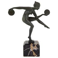 Art Deco Sculpture Nude Disc Dancer Derenne Marcel Bouraine, France, 1930