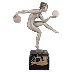 Art Deco Sculpture Nude Disc Dancer Derenne Marcel Bouraine, France, 1930